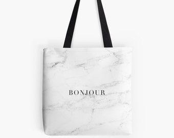 Marble Print Tote Bag - Paris bag - French market bag - Shopper bag