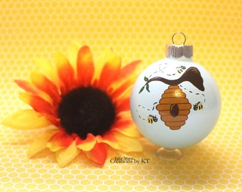 Honey Bee Ornament READY TO SHIP Bee Hive Beekeeper Bee Enthusiast Glass Bauble Hand Painted