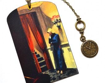 Mini Bookmark with Bronze Pendant - Edward Hopper Painting - Handmade