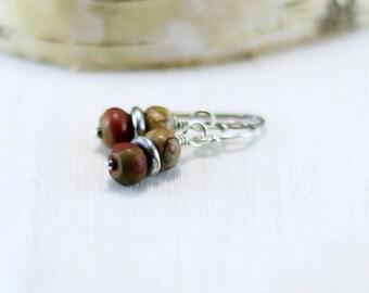 Red Creek Jasper Earrings, Oxidized Sterling Silver Cherry Creek Jasper Dangle Earrings Wire Wrapped Stone Earrings Jasper Jewelry