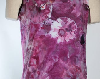 Lady's   Tank Tops, Cotton,  Ice Dyed Tie Dyed In a Purple Agate  Design, Made to Order