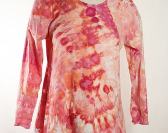 Asymmetric Tunic, Long Sleeve, Cotton, Ice Dyed Tie Dyed, Crumple,Just Peachy,  MADE TO ORDER