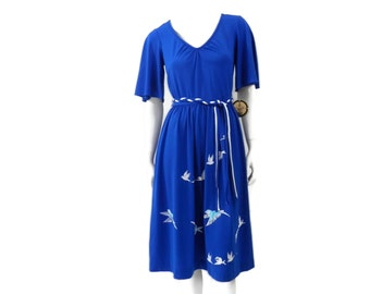 NOS Hand Printed Dress by Alfred Shaheen Flock of Seagulls NWT Size 12 Hawaii Fashion #63