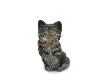 Antique Tiny Metal Kitten or Cat Figurine w/Nylon Whiskers Vintage Micro Miniatures