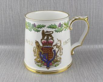 1977 Queen Elizabeth II Silver Jubilee Mug Commemorative Spode Brand