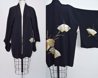 Vintage Japanese Haori Jacket Hand Painted Silk 1950s 50s Black and Gold