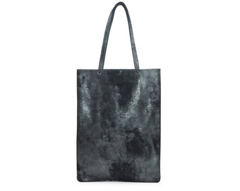 Graphite black shimmer leather handbag, leather tote bag, graphite black leather shoulder bag
