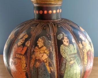 Antique Indian Toleware Vase decorated with figures c1900
