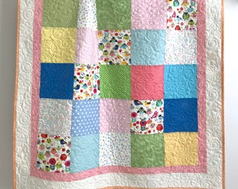 Adorable Baby Girl Quilt with Tiny Whimsical Birds Pink Blue Yellow Green Orange