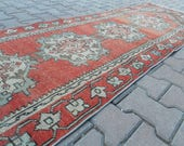 Vintage Distressed Oushak Boho Medallion Runner Rug - 109 in x 31 in