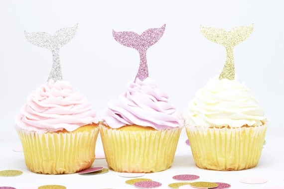 Whale Tail Cupcake Toppers - Glitter - First Birthday Decor. Whale Party Decor. Birthday Party. Bachelorette Party. Mermaid Party Decor.