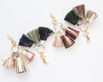 Natural leather key charm-three tassel key fob-fringe bag charm- genuine leather charm-tassel key chain-black green bronze-choose your color
