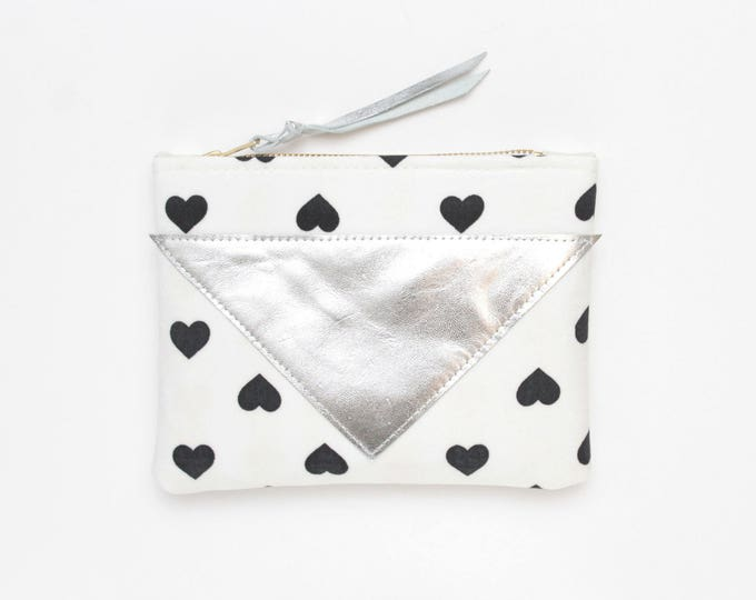 Reserved for Jyoti/Cotton pouch-natural leather-black and white prints-make up bag-cosmetic purse-bag organizer-small purse /SPLASH 78