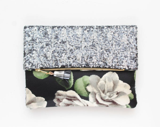 BLISS / Sequin clutch bag-fold over bag-wedding bag-bridesmaid gift-floral print-flowerfabric-silver sequinblack grenen white-Ready to Ship