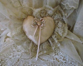 Vintage Blush Peach Lace And Ribbons Sachet Heart Pillow Ring Bearers Pillow Mary Eaton Collection