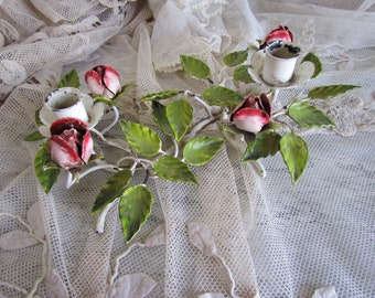 Vintage Italian Tole Candlestick Candle Holder Red Rose Shabby Chippy Fab