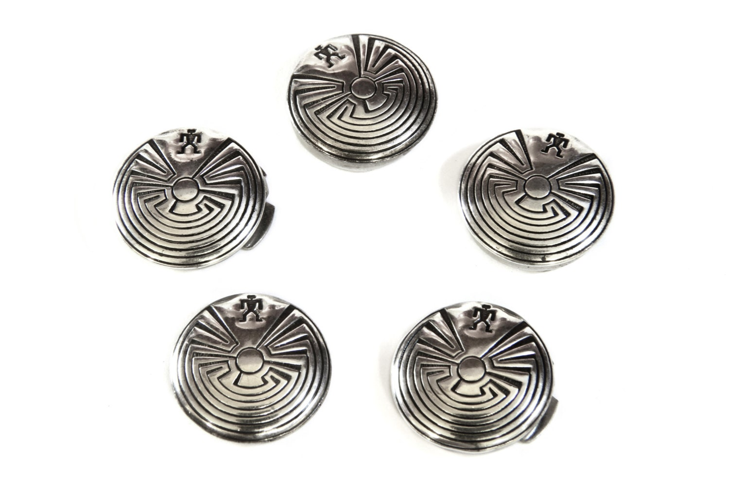 Mens button covers zuni native american 925 sterling silver for Mens dress shirt button covers