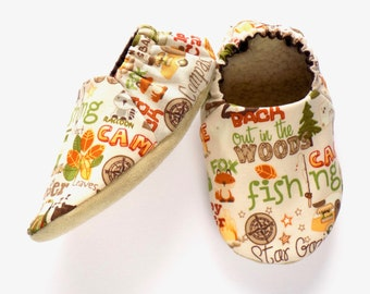 Camping Baby Boy Shoes, 6-12 mos. Baby Booties, Baby Soft Sole Shoes, Camping Baby Shoes, Slip On Baby Shoes, Baby Boy Gift