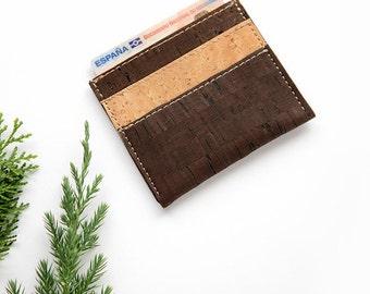 Natural cork card wallet, cork wallet, cork slim wallet, vegan wallet, slim wallet, card holder, natural card holder