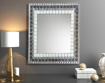 Entryway Mirror, Mosaic Mirror, Mirror for Foyer, Gray and Silver, Geometric Wall Art, Large Wall Mirror