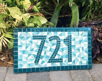 Mosaic Address Sign, Teal Turquoise Aqua, Beach House Address Plaque