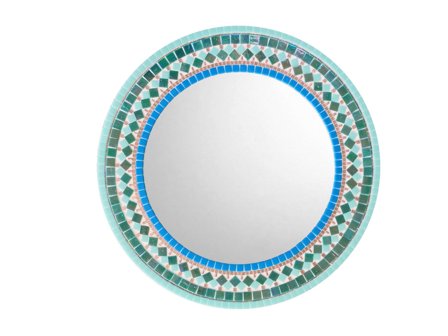 Round wall mirror for bathroom mosaic mirror teal aqua for Aqua mosaic bathroom accessories