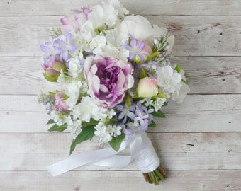 Bridal Bouquet, Wedding Bouquet, Beach Bouquet, Peony and Wildflower Bouquet, White and Purple Bouquet, Wildflower Bouquet, Silk Bouquet