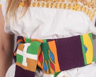 Guatemalan Peruvian Mexican Woven Wrap Sash Belt