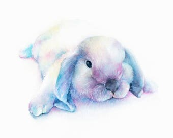 Rabbit, Bunny,  bunny print, animal print, giclee, art, Watercolor, watercolor art print, Colorful rabbit original watercolor giclee print