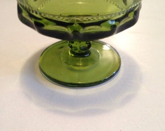 Mother's Day Gift Vintage Olive Green Indiana Glass Goblet in the Kings Crown Pattern