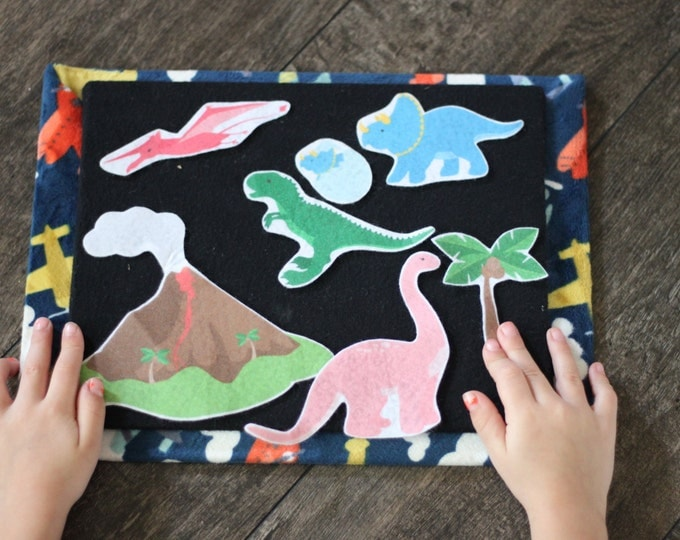 Dinosaur Felt Board Story - Toddler Quiet Book Pieces, Montessori Toy, Pretend Play Felt Board Set, Waldorf Toy, Sensory Board, Busy Board