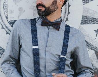 Dark Blue Mens Suspenders, Fabric Suspenders, Adult Suspenders, Party Suspenders, Date Suspenders, Denim Suspenders