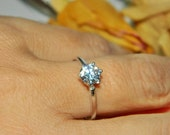Low Profile Promise Ring, 1 Carat Engagement, Sterling Silver Purity Ring, Anniversary Ring