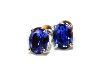 Blue Sapphire Earrings, Sterling Silver Studs, Swarovski Crystal Earrings