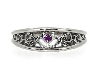 Amethyst heart filigree ring, white gold, yellow gold, rose gold, engagement, filigree wedding, unique, purple, amethyst wedding, custom,