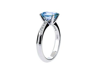 London blue topaz, white gold, engagement ring, solitaire, blue, thin, custom, blue engagement, huge gemstone, teal topaz, emerald cut