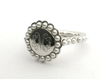 Monogram Pearl Ring Personalized, Monogrammed Sterling Silver Ring, Pearl Signet Ring Silver Women, Monogram Engagement Ring