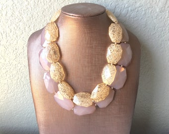 Champagne & Caramel Necklace, multi strand jewelry, big beaded chunky statement necklace, caramel necklace, bridesmaid necklace