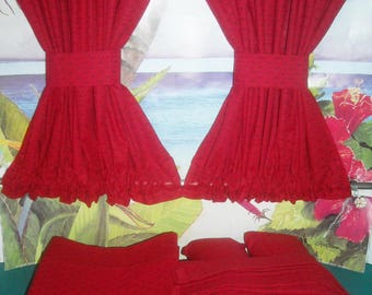 VW Red Print Curtains  Fits Bay Window Models 1968-1979