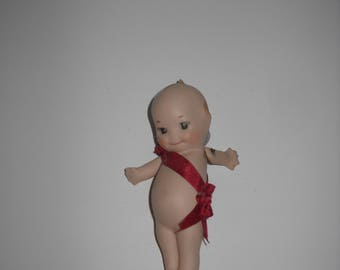 Kewpie Doll Tiny Handmade Porcelain Bisque Moveable Arms Rosette Ribbon Blue Wings