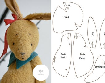 Instant Download PDF Sewing Pattern Rabbit Stuffed animal Toy Easter Bunny 8 inches For Women Step By Step PDF Tutorial Easy To Follow