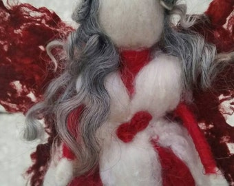 Red and White Fairy Art Doll, Waldorf Style, Needle Felted, Beautiful, Unique Silk & Wool OOAK Faerie Decoration. Nature Corner, Seasonal