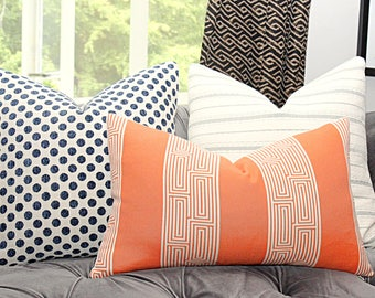 Orange and Ivory Greek Key Pillow Cover - Orange Stripped Pillow Cover - Lumbar Pillow Cover