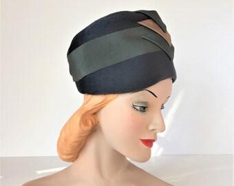 Dana Marte Original Hat, Vintage Turban Style Hat, 1960s Ladies Hat, Blue-Gray Wool Hat, 1930s Style Hat, Photo Stage Prop Hat