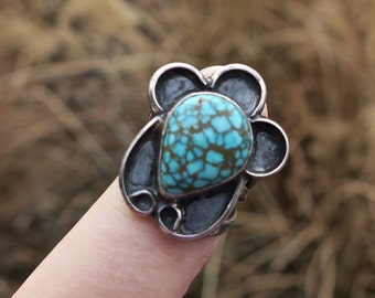 RARE Vintage Sterling Silver Native American #8 Turquoise Ring