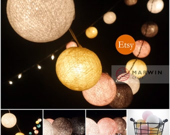 Battery Powered LED Bulbs 20 Mixed Pastel Shade tone Cotton Balls Fairy String Lights Party Patio Wedding Floor Hanging Gift Bedroom Home