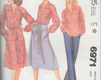 """Vintage 1979 McCall's 6971 Retro Blouse & Back Wrap Skirt Sewing Pattern Size 16 Bust 38"""""""