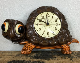 Vintage Happy Turtle Wall Clock by New Haven