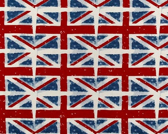 1/2 Yard Union Jack - Premier Prints Union Jack Navy Macon Ivory Red, Duck Cloth - Home Decor Weight