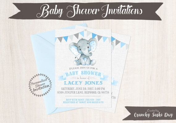Blue Elephant, Boy Baby Shower Invitations, Printable Invitations, Baby Boy, Safari, Jungle, Elephant, Blue, Grey, Nursery, Cute 006